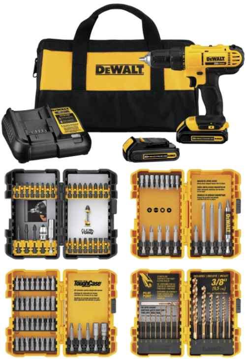 Battery Powered DEWALT 20V MAX Cordless Drill/Driver Kit (DCD771C2 & DWA2FTS100)
