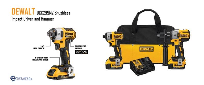 DEWALT DCK299M2 Brushless Impact Driver and Hammer Drill Combo Kit